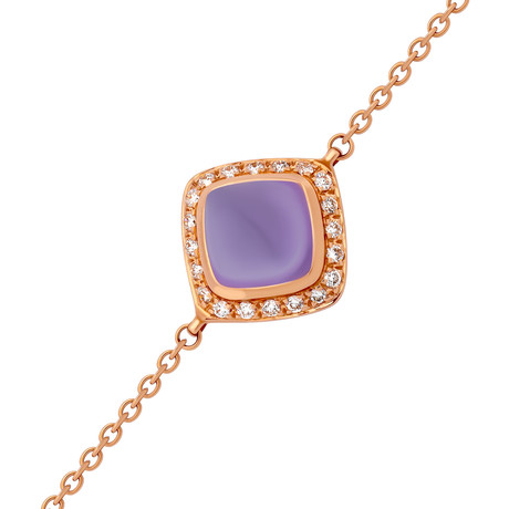 Paindesucre Rose Gold + Diamond + Amethyst Bracelet