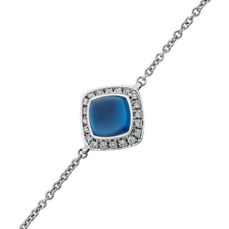 Paindesucre White Gold + Diamond + London Blue Topaz Bracelet