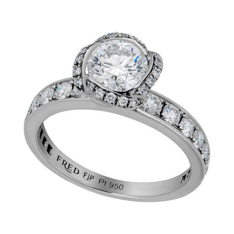 Fleur Celeste Platinum + Diamond Ring // Ring Size 5.25
