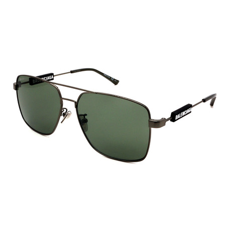 Balenciaga // Men's BB0116S-OO2 Square Aviator Sunglasses // Silver + Black