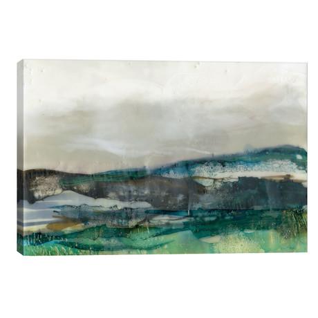 """Aqua Hills II // Jennifer Goldberger (40""""W x 26""""H x 1.5""""D)"""