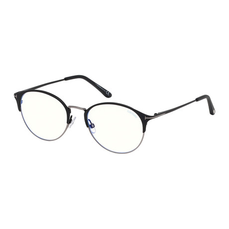 Men's Metal Round Blue Light Blocking Glasses // Black + Silver