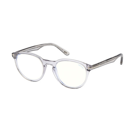 Unisex Oval Blue Light Blocking Glasses // Crystal
