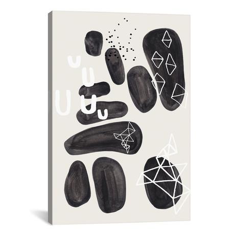 "Black Ornate Pebbles // EnShape (26""W x 40""H x 1.5""D)"