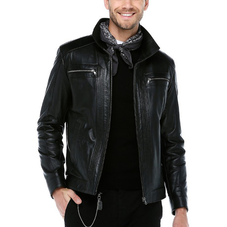 Athens Leather Jacket // Black (XS)