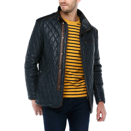 Berlin Leather Jacket // Navy Blue (XS)