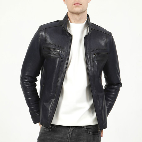 Budapest Leather Jacket // Navy Blue (XS)