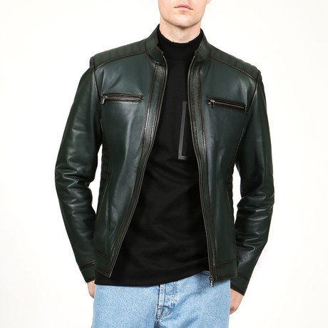Venice Leather Jacket // Green (XS)