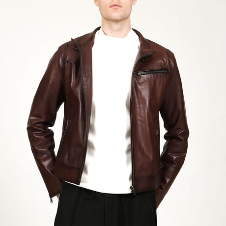 Vejetal Leather Jacket // Red (XS)