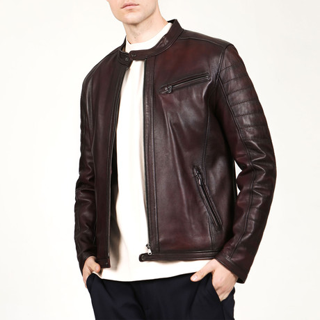 Oslo Leather Jacket // Claret Red (XS)