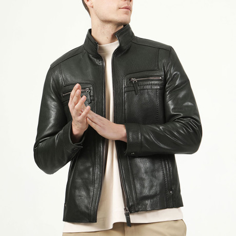 Madrid Leather Jacket // Green (XS)