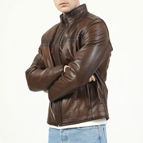 Porto Leather Jacket // Camel (XS)
