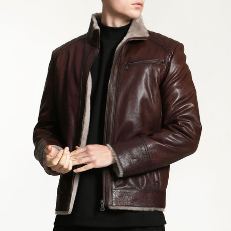 London Leather Coat // Claret Red (XS)