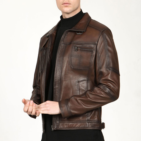 Dublin Leather Jacket // Camel (XS)