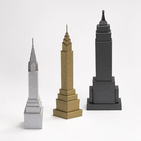 Art Deco Inspired Skyscrapers // Set of 3
