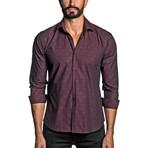 Jacquard Woven Shirt // Burgundy (XL)