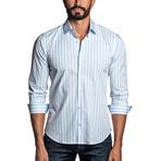 Striped Woven Shirt // White + Blue (L)