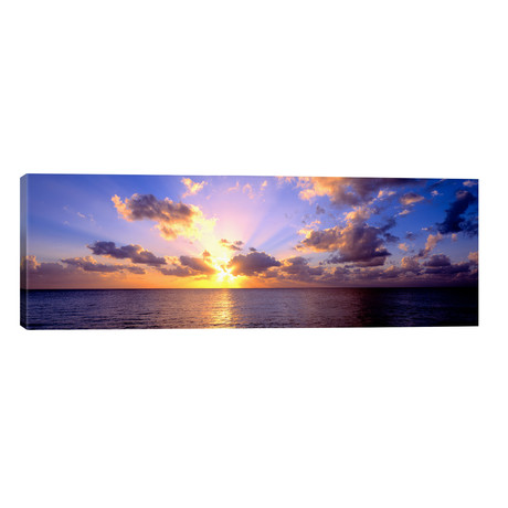 "Sunset 7 Mile Beach Cayman Islands Caribbean // Panoramic Images (60""W x 20""H x 0.75""D)"