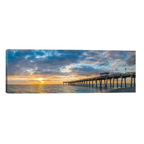 "Pier In Atlantic Ocean At Sunset, Venice, Sarasota County, Florida, USA // Panoramic Images (60""W x 20""H x 0.75""D)"