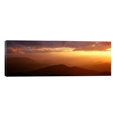 "Mountains Sunset, Blue Ridge Parkway, Great Smoky Mountains, North Carolina, USA // Panoramic Images (60""W x 20""H x 0.75""D)"
