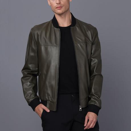 Munich Leather Jacket // Khaki (S)