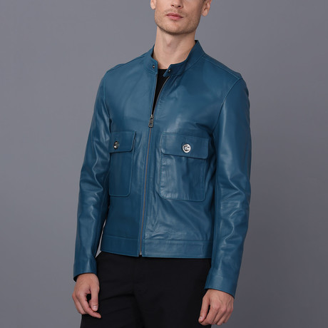 Turin Leather Jacket // Oil Blue (S)