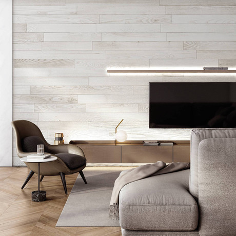 NaturaPlank™ Peel + Stick Wood Wall Cladding // White
