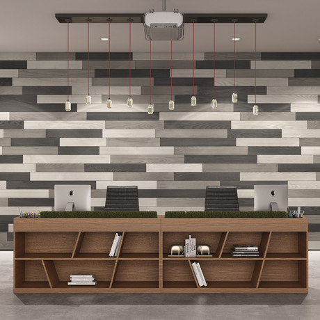 NaturaPlank™ Peel + Stick Wood Wall Cladding // Medium Gray Transitions