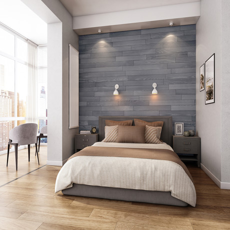 NaturaPlank™ Peel + Stick Wood Wall Cladding // Warm Gray