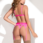 Three Piece Garter Set // Hot Pink (M-L)