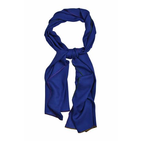 Cashmere + Silk Blend Woven Scarf // Blue