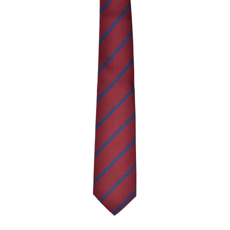 Striped Silk Tie // Burgundy + Blue