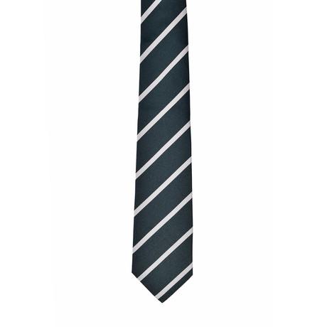 Striped Silk Tie // Green + White