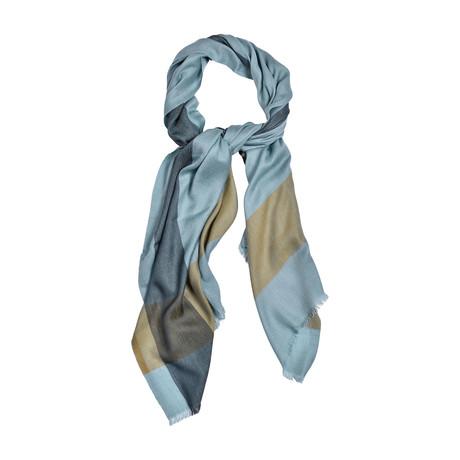 Cashmere + Silk Blend Woven Scarf // Blue + Gray + Beige