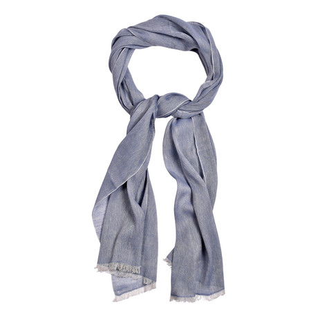 Contrast Tipped Baby Cashmere + Linen Blend Scarf // Light Blue