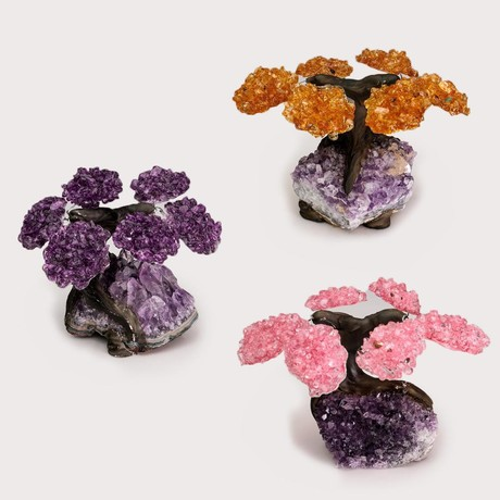 Gemstone Trees on Amethyst Matrix // Set of 3 // Rose Quartz + Citrine + Amethyst // Small