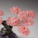 The Love Tree // Custom Rose Quartz Clustered Gemstone Tree on Amethyst Matrix // V11