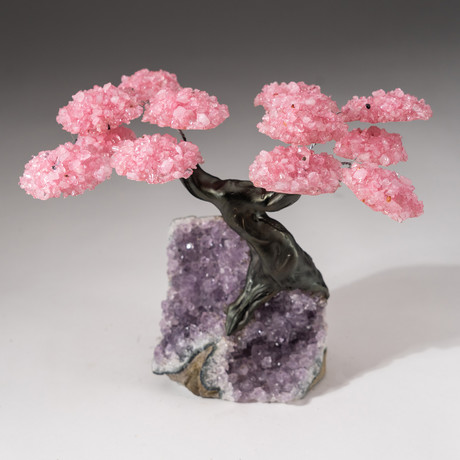 The Love Tree // Custom Rose Quartz Clustered Gemstone Tree on Amethyst Matrix // V16
