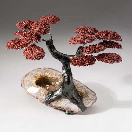 The Safety Tree // Custom Red Jasper Clustered Gemstone Tree on Citrine Matrix // V3