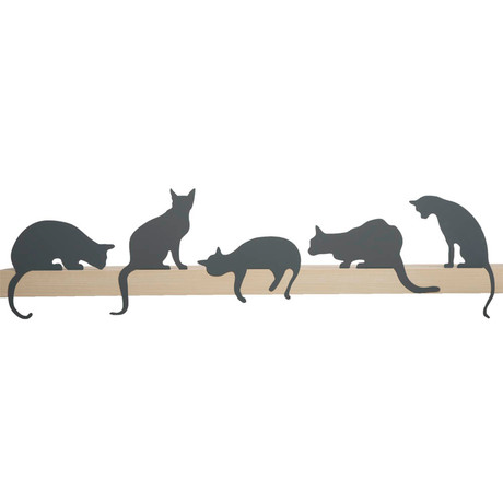 Cat's Meow // Decorative Cats Silhouettes // Set of 5 (Gray)