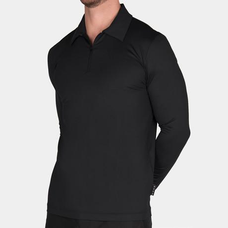 Elton Long Sleeve Polo // Black (Small)