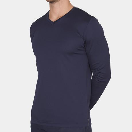 Eric V Neck T-Shirt Long Sleeve // Navy (Small)