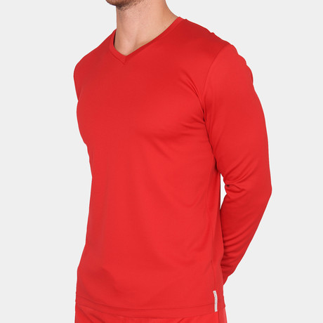 Danny V Neck T-Shirt Long Sleeve // Red (Small)