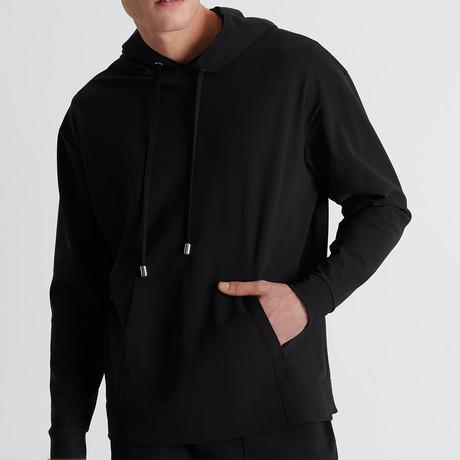 Sweatshirt Jacket + Lined Drawstring Hood // Black (Small)