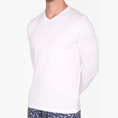 Logan V Neck T-Shirt Long Sleeve // White (Small)