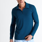 Elton Long Sleeve Polo // Petrolium Blue  (Small)