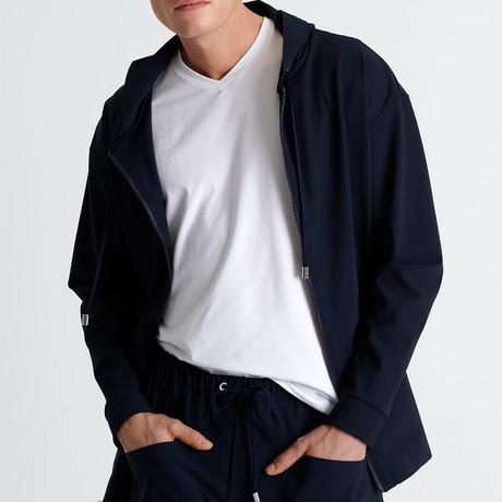 Full Zip Hooded Jacket // Navy (Small)