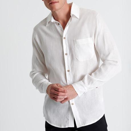Riley Shirt + Front Pocket // White (Small)