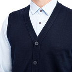 Chandler Sweater Vest // Dark Navy Blue (Small)