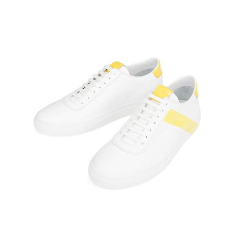Striped Court Sneakers // White + Yellow (Euro: 39)